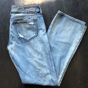 Express Stella Studded Distressed Boot Cut Jeans 8